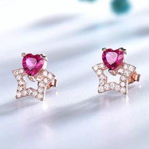 Sterling Silver Ruby  Gems Studs Earrings